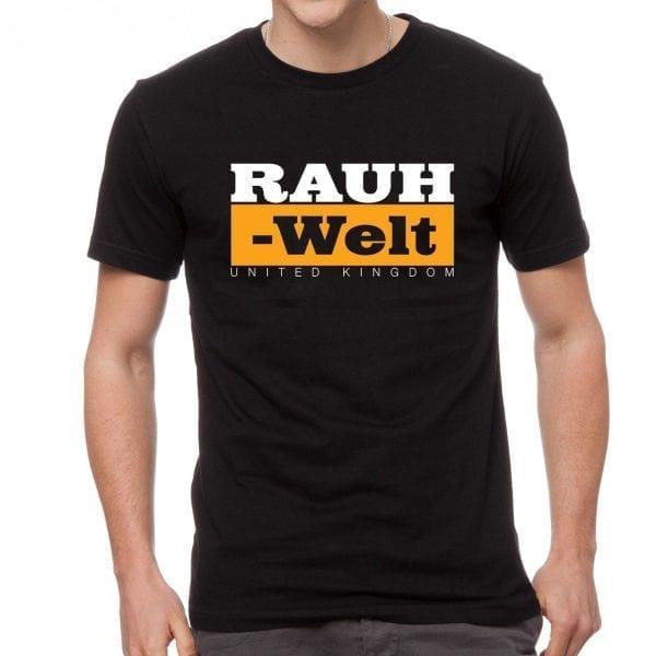Rauh Welt Begriff RWB UK  Mens T-Shrit Black with Orange Logo