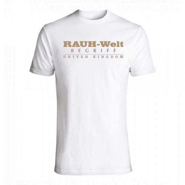 Rauh Welt Begriff RWB UK Mens T-Shrit White with Golden Logo