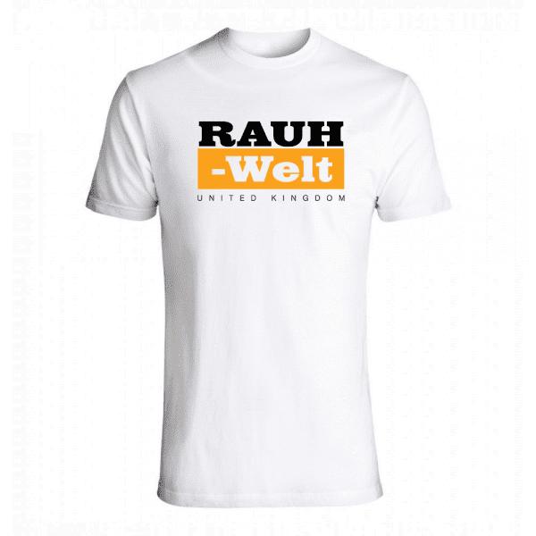 Rauh Welt Begriff RWB UK  Mens T-Shrit White with Orange Logo